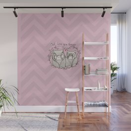 OWL LOVE YOU FOREVER - PiNK  Wall Mural