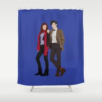 karen hallion Shower Curtains featuring Matt Smith as Dr Who and Karen Gillan as Amy Pond by liamgrantfoto