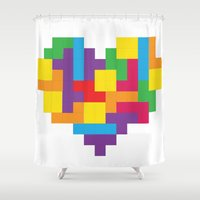 tetris Shower Curtains featuring Tetris Heart by Shannon's Sketchfest