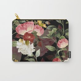 Floral Flower Pattern Watercolor White Pink Flowers Black Background Carry-All Pouch