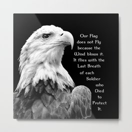 Eagle with Patriotic Quote Metal Print