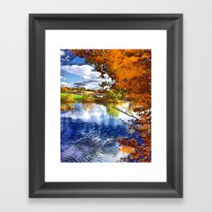 Romantic Fall River Town Nature View Framed Art Print