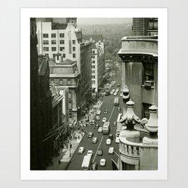 Fifth Avenue, New York City, B&W, high angle view 1950s vintage photo Art Print