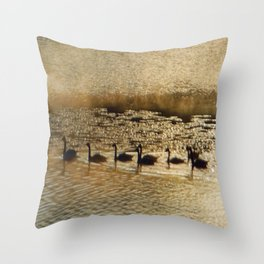 Canada Geese on Golden Pond Throw Pillow