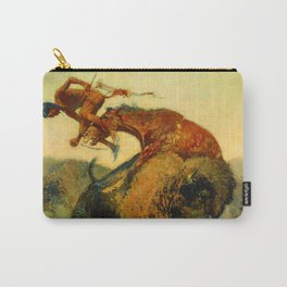 """Frederic Remington Western Art """"Episode – Buffalo Hunt"""" Carry-All Pouch"""
