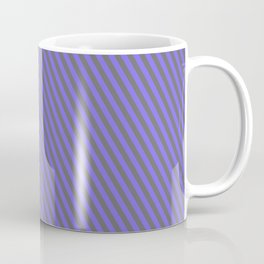 Medium Slate Blue & Dim Grey Colored Lined Pattern Coffee Mug