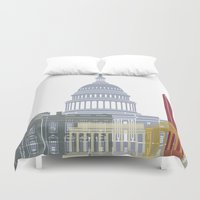 washington dc Duvet Covers featuring Washington DC skyline poster by Paulrommer