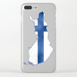 Finland, Suomi map with flag, washed watercolor Clear iPhone Case