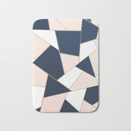 Navy Blue Blush White Gold Geometric Glam #1 #geo #decor #art #society6 Bath Mat