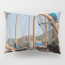 Gulets Lining The Harbour Infront of Marmaris Castle Pillow Sham