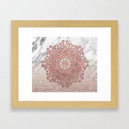 Rose gold mandala marble glitter ombre Framed Art Print