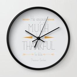 Thankful - Thomas Secker Quote Wall Clock
