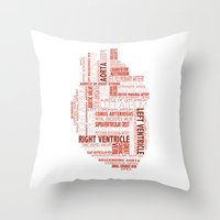 anatomical heart Throw Pillows featuring Anatomical Heart Typography by Compass Ink