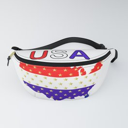 USA Red White Blue Stars Fanny Pack