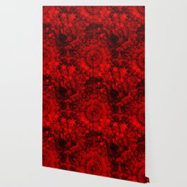 Butterfly and fractal in black and blood red Wallpaper