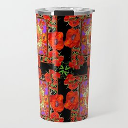 GREY & BLACK ART RED DECO ORANGE-RED POPPIES Travel Mug