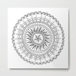 black and white doodle mandala Metal Print