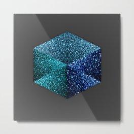 Hexagon blue sparkles geometric diamond Metal Print