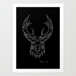 Stags head in one continuous line Art Print