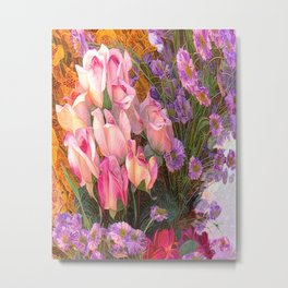 Cheers to Summer Flowers Abstract  Metal Print