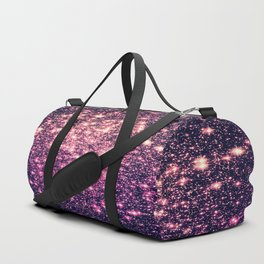 Glitter Galaxy Stars : Mauve Pink Purple Duffle Bag
