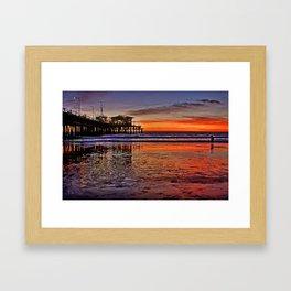 Sunset at Santa Monica Pier Framed Art Print