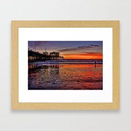 Sunset at Santa Monica Pier Framed Art Print