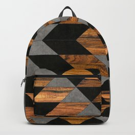 Urban Tribal Pattern 10 - Aztec - Concrete and Wood Backpack