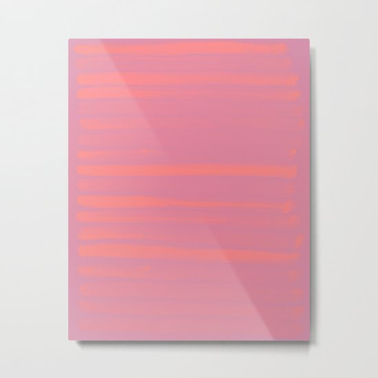 Peach Earth Lines, Pink Stripes Metal Print