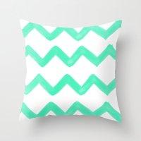 tiffany Throw Pillows featuring Tiffany Chevron by Rebecca Allen