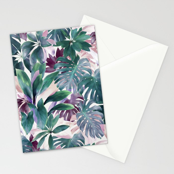 Tropical Emerald Jungle in light cool tones Stationery Cards