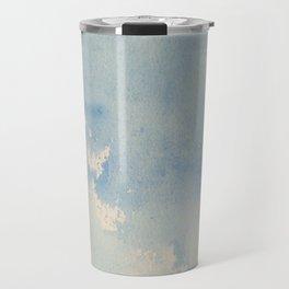 Vintage chic pastel blue ivory watercolor paint texture pattern Travel Mug