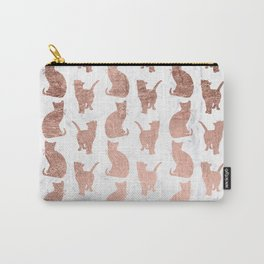 Modern faux rose gold cats pattern white marble Carry-All Pouch