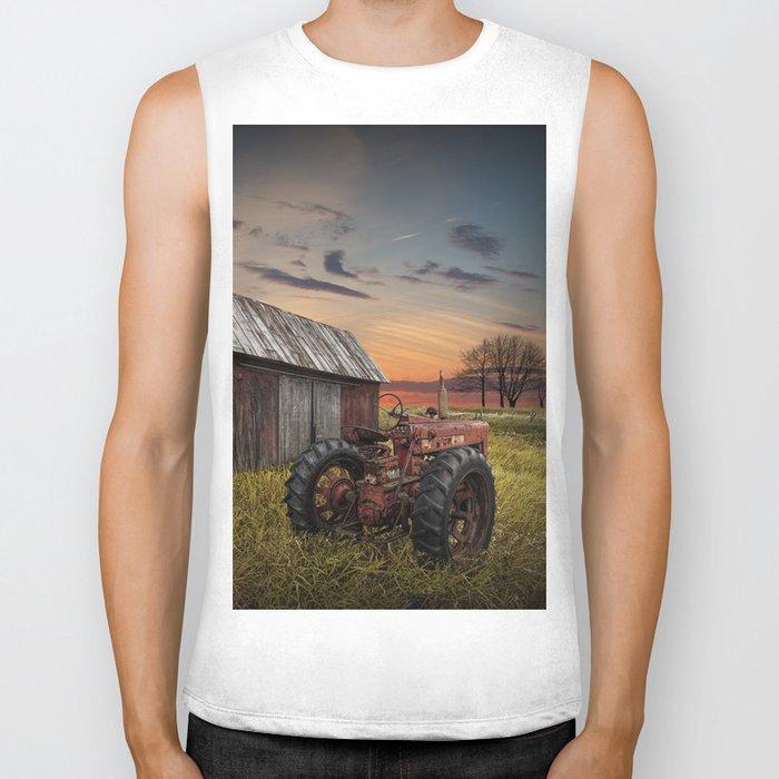 Abandoned Farmall Tractor and Barn Biker Tank