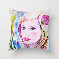 blondie Throw Pillows featuring Blondie by Yvonne Póo