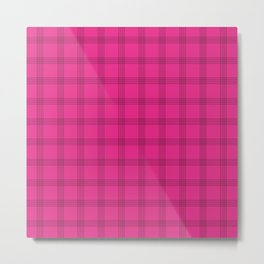 Black Grid on Bright Pink Metal Print