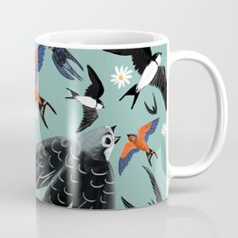 Swallows Martins and Swift pattern Turquoise Coffee Mug