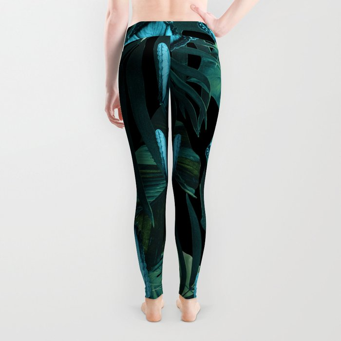 Tropical Butterfly Jungle Night Leaves Pattern #5 #tropical #decor #art #society6 Leggings