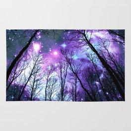 Black Trees Lavender Pink Blue Space Rug