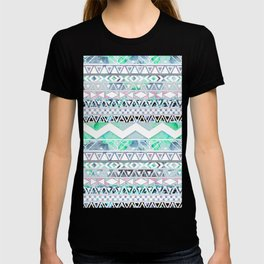 Teal Girly Floral White Abstract Aztec Pattern T-shirt