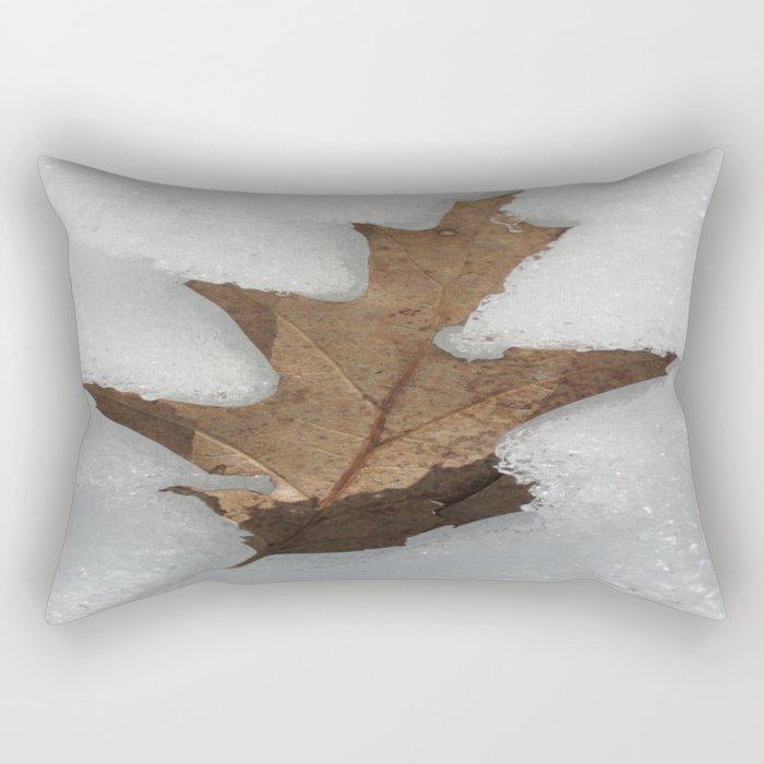 leaf in snow Rectangular Pillow