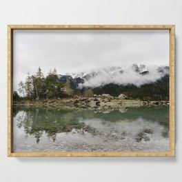 Eibsee Lake Mountain Island Reflection - Art Print Serving Tray