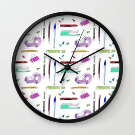 Stationery and pens Wall Clock