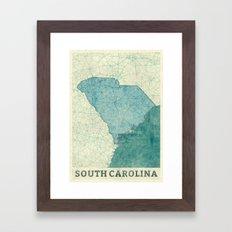South Carolina State Map Blue Vintage Framed Art Print