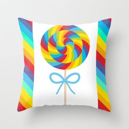 candy lollipop with bow, colorful spiral candy cane Throw Pillow