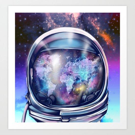 astronaut world map 1 Art Print