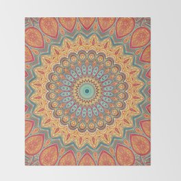 Jewel Mandala - Mandala Art Throw Blanket