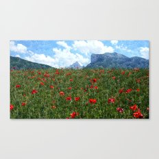 PoppiesMountains Canvas Print