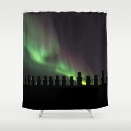 Northern Lights Easter Island Moai Shower Curtain