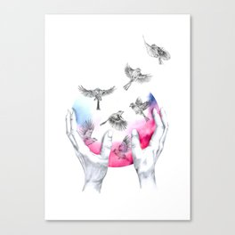 wild and free - pink Canvas Print